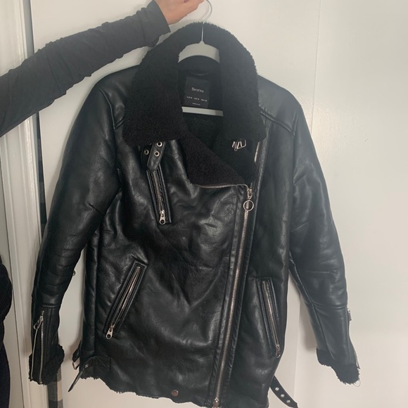 Black faux leather jacket with faux fur lining
